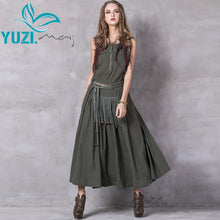 Load image into Gallery viewer, Summer Women Dress 2017 Yuzi.may Boho New Linen Cotton Vestidos Slash Neck Skinny Swing Hem Vintage Embroidery Sundress A8206