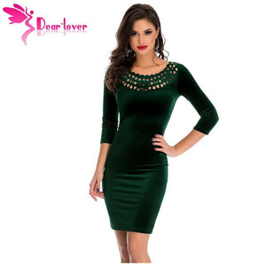 Dear Lover Office Ladies Sheath Dress Dark Green Hollow Out Round Neck Sleeved Velvet Dress Female Vestidos Robe Velours LC22925