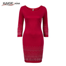 Load image into Gallery viewer, Kaige.Nina New women's Vestidos Pure Color Style 7 Minutes Of Sleeve Sequined  Decoration Straight Knee-Length Autumn Dress 1621
