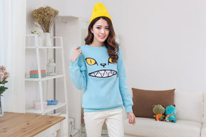 Winter Cartoon Zipper Mouth Smile Cat Shoulder 3D Ear Jumper Pullover Sweatshirt Family Fitted Children Adult Top 6Color