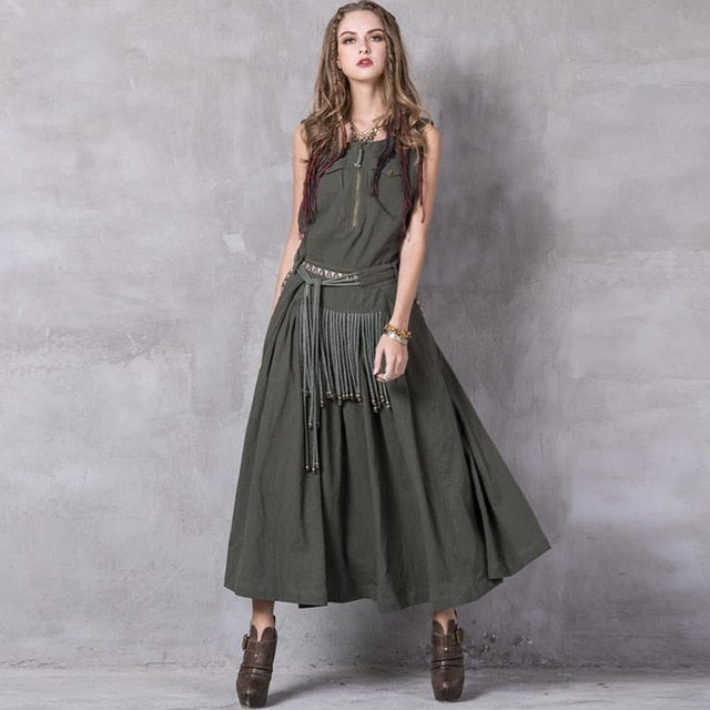 Summer Women Dress 2017 Yuzi.may Boho New Linen Cotton Vestidos Slash Neck Skinny Swing Hem Vintage Embroidery Sundress A8206