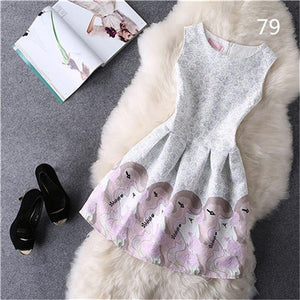 Free shipping more colors,printing sleeveless women dress sexy midi Ball gown party dress robe femme,sweet style neck tank dress