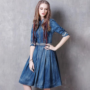 Summer Women Dresses 2017 Denim Dress Vintage New Floral Embroidery Half Sleeve Single Breasted Belted Vestidos A8129 Vestido