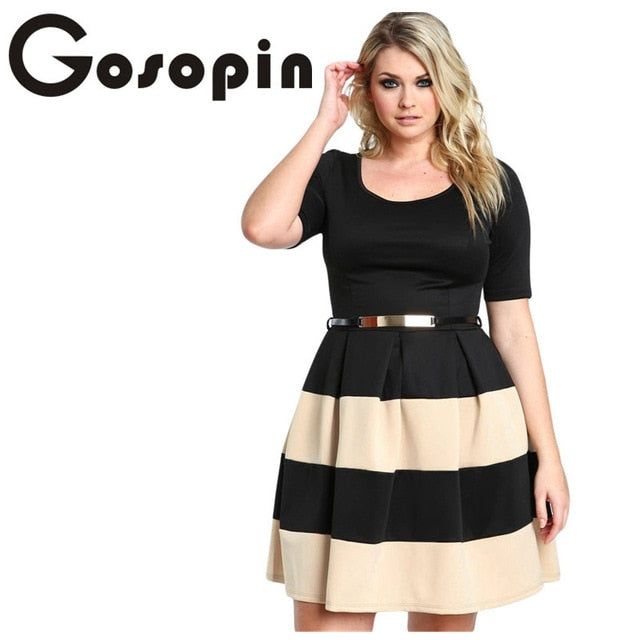 Gosopin Big Girl 3XL Casual  Autumn Short Sleeve Apricot Stripes Detail Belted Plus Size Skater Dress  Vestido de Festa LC22806