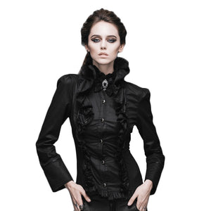 Steampunk Shirts Women Victorian Gothic Long Sleeve Blouse 2017 Casual Shirt Tops With Stand Collar Slim Fit Shirt Woman
