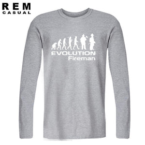 Evolution Of A Fireman Gift Firefighter T Shirt T-Shirt Style Long sleeve