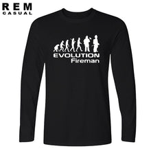 Load image into Gallery viewer, Evolution Of A Fireman Gift Firefighter T Shirt T-Shirt Style Long sleeve
