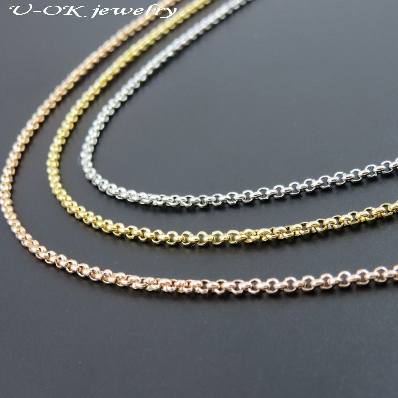 3color Stainless steel Rolo O Chain, Women Necklace, Floating Locket Chain, Gold-color Rose Gold Color Gift Jewelry Findings