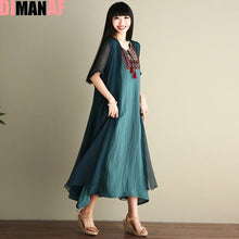 Load image into Gallery viewer, DIMANAF Women Dress Plus Size Vintage Summer Chinese style Embroidery Printing Female Shawl Elegant Casual Two-Piece Suit Dress