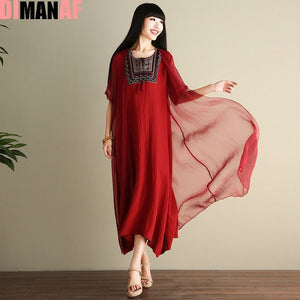 DIMANAF Women Dress Plus Size Vintage Summer Chinese style Embroidery Printing Female Shawl Elegant Casual Two-Piece Suit Dress
