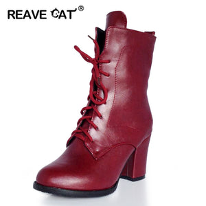 REAVE CAT Big size 32-48 New Autumn Winter Ankle boots Ladies botas Woman bootie High heels Platforms Lace up Sequined Warm Cool