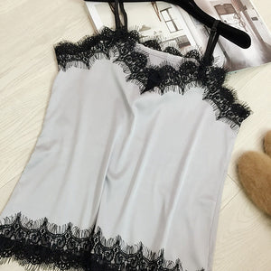 2017 New Women Solid Singlet Tops Lace Straps Female Woman Fashion Vest Inner Shirts