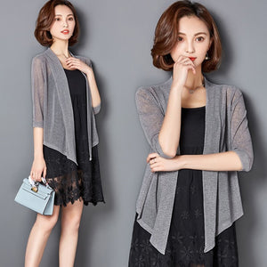 New Women Summer Kimono Cardigan Mesh Transparent Sun Blouse Chiffon Loose Short Plus Size Shirt Solid Beach Cover Ups Outwear 3