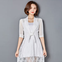Load image into Gallery viewer, New Women Summer Kimono Cardigan Mesh Transparent Sun Blouse Chiffon Loose Short Plus Size Shirt Solid Beach Cover Ups Outwear 3
