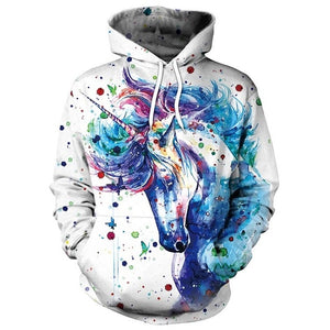 NADANBAO Brand Winter Women Sweatshirt Unicorn 3D Printed Cartoon Hoodies Pullovers Colorful Ink Splashi Hoodie Sweatshirts