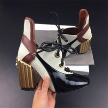 Load image into Gallery viewer, Women's Genuine Leather Patchwork Lace-up Pumps Brand Designer Thick High Heel Spring Autumn High Quality Punk Shoes for Women