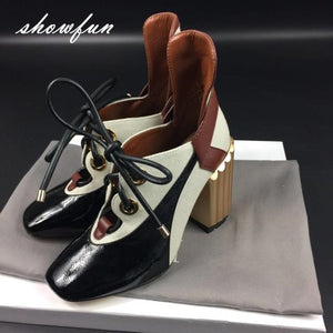 Women's Genuine Leather Patchwork Lace-up Pumps Brand Designer Thick High Heel Spring Autumn High Quality Punk Shoes for Women