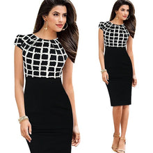 Load image into Gallery viewer, Kenancy Elegant Women Check Plaid Patchwork Dresses Cap Short Sleeve High Waist O-Neck Work Sheath Bodycon Pencil Office Dress