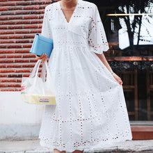 Load image into Gallery viewer, palenda hollowed dress boho loose pattern soft fabric leisure yellow free size women summer clothing