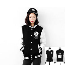 Load image into Gallery viewer, EXO Autumn collar cutton Casual student Hoodies coat women long sleeve baseball uniform Sweatshirts neutral Black numeral jacket