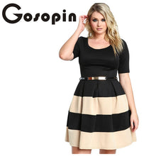 Load image into Gallery viewer, Gosopin Big Girl 3XL Casual  Autumn Short Sleeve Apricot Stripes Detail Belted Plus Size Skater Dress  Vestido de Festa LC22806