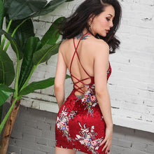 Load image into Gallery viewer, 2017 Summer Very Sexy Shining Velvet Dress Backless Red Floral Printed Dress Stylish Bandage Sleeveless Slim High Rise Elastic