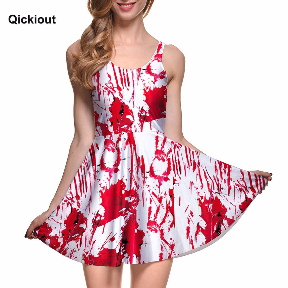 Drop Ship Fashion Women Dress A-line Digital Print WHAT A MESS REVERSIBLE SKATER DRESS vestidos mujer tallas grandes