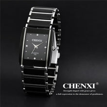 Load image into Gallery viewer, CHENXI Brand Lady Watch Elegant Black Ceramics Simple Minimalism Small Narrow Quartz Casual Watch Woman Rhinestone Wristwatch