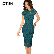 Load image into Gallery viewer, OTEN Office ladies dresses Elegant womens sexy lace hollow out knee length work office business sheath bodycon dress robe crayon