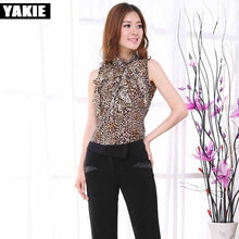 Load image into Gallery viewer, Leopard  blouse shirt women plus size sleeveless bow stretch fleece women blusa blouses female blusas feminina 2017 women tops