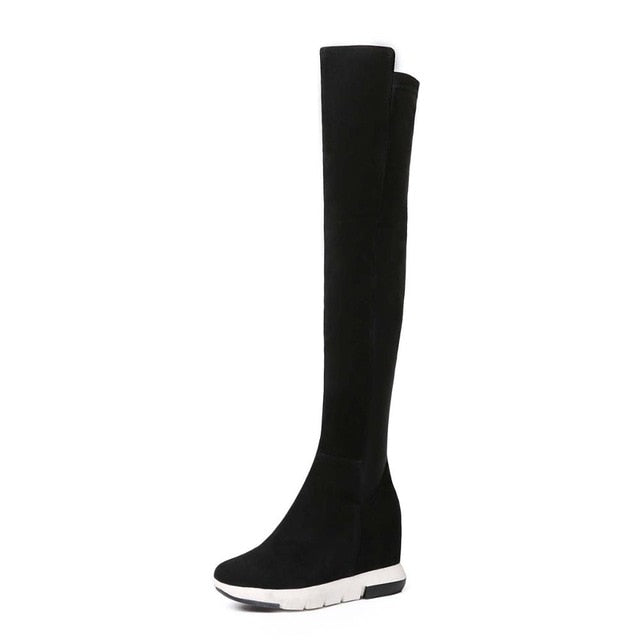 WETKISS Leisure Style Stretch Over The Knee Boots Natural Leather Suede Winter Boots Height Increasing Rubber Women Shoes 2018