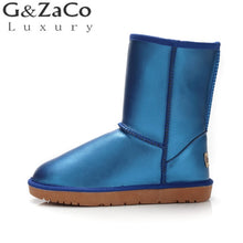 Load image into Gallery viewer, G&Zaco Luxury Winter Cowhide Snow Boots Female Cylinder Fur Black Waterproof Genuine Leather Boots Warm Mid Calf Flat Boots