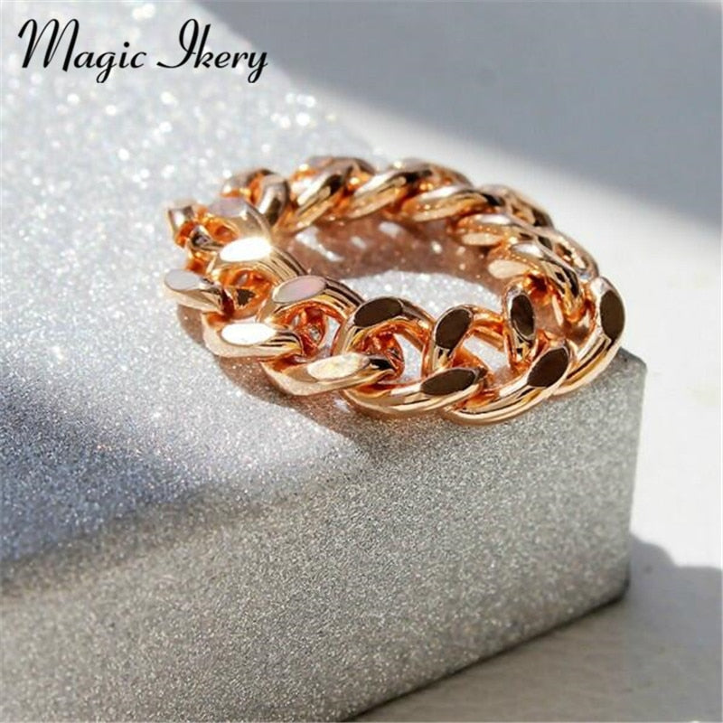 Magic Ikery 3 Colors New Fashion Korean Style Chain Rings Customize Sizes Fashion Simple Jewelry for Gifts Women Girls HG1009