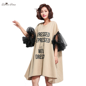 BelineRosa Women's European Fashion Dresses Unique Black Mesh Sleeve Big Sizes Women Dresses Mini Dress Women  TYW00693