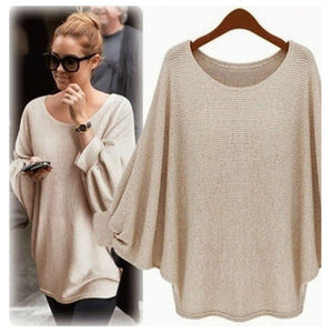 Awaytr Spring/Autumn Long Section Of Large Size Loose Blouse Round Neck Batwing Sleeve Thin Solid Thin Bottoming Sweatshirts