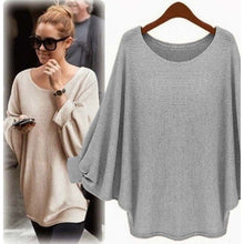 Load image into Gallery viewer, Awaytr Spring/Autumn Long Section Of Large Size Loose Blouse Round Neck Batwing Sleeve Thin Solid Thin Bottoming Sweatshirts
