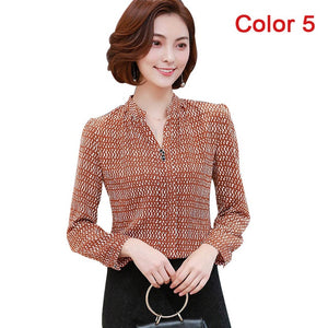 2018 New Women Spring Blouse Shirts Chiffon Long Sleeve Female Clothing Office OL Tops Striped Dot Flower Autumn feminine Blusas
