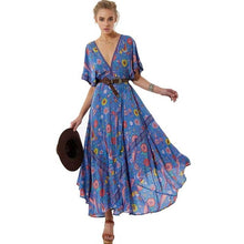 Load image into Gallery viewer, Boho Inspired Dress Retro Bohemian summer Dress Ethnic Deep V-neck Floral Print tassel tied elastic waist maxi dress women 2018