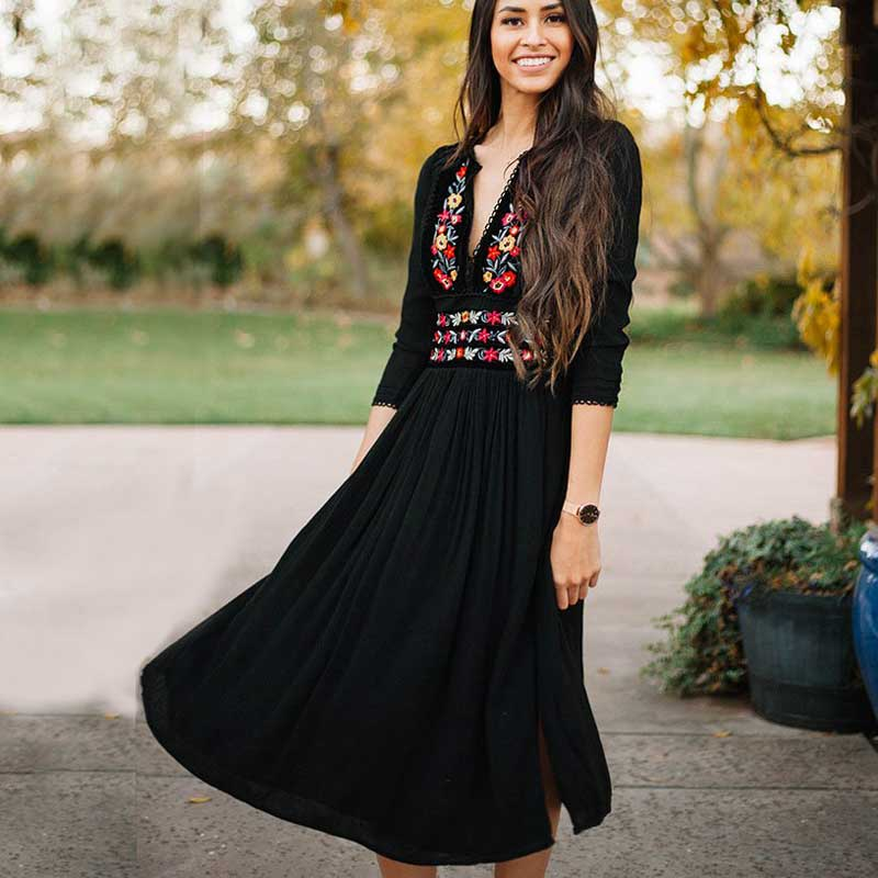 Boho Inspired Women's Floral Midi Dress Three-quarter sleeve embroidery neckline dresses hippie chic elastic waist vestidos 2018