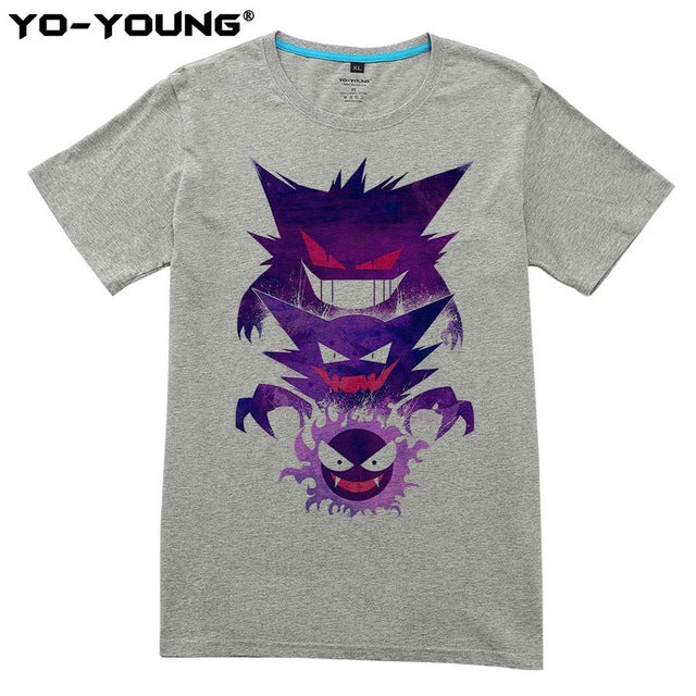 POKEMON T Shirts Men Gastly Haunter Gengar Design Digital Printing 100% 180 gsm Combed Cotton Top Tees Short Sleeve Customized