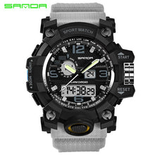Load image into Gallery viewer, Top Luxury Brand Sanda Men Sport Watches Men's Quartz LED Analog Clock Man Military Waterproof Wrist Watch Relogio Masculino New