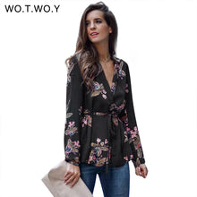 Load image into Gallery viewer, WOTWOY V-Neck Printed Floral Blouses Women Sashes Long Sleeve Blouse Shirts Women 2017 Casual Chic Tops Blusas Spring Autumn New