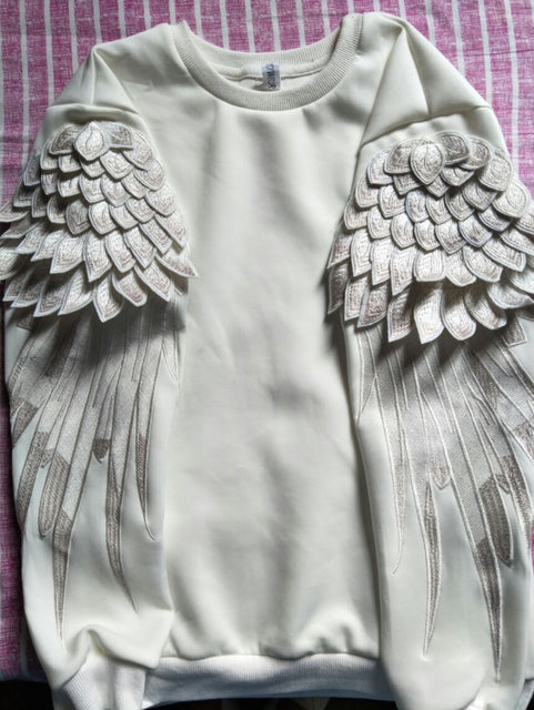 Parents and Children Hoodies New Fashion Wings Embroidery Men and Women Couple Clothing Sweatshirts Family Pullover Coat Spring