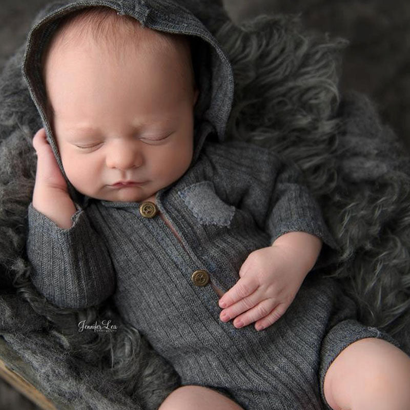 Newborn Photography Props Hooded Romper Long Sleeve Newborn Boy Outfit Photography Accessories Baby Overalls Bebe Fotos Romper