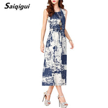 Load image into Gallery viewer, Saiqigui Summer dresses women Sleeveless Casual A-Line Adjust Waist Vintage Dress Female Cotton Linen Dresses vestidos