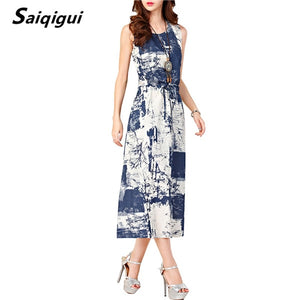 Saiqigui Summer dresses women Sleeveless Casual A-Line Adjust Waist Vintage Dress Female Cotton Linen Dresses vestidos
