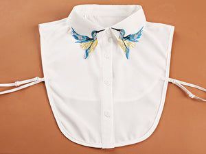 Newly Design Fashion Heavy bird embroidery necklace vest blouse Shirt false Collar neck Women Detachable Vertical Small Lapel