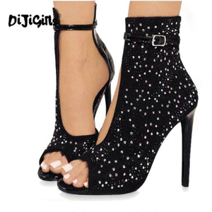 Dijigirls Crystal Women Pumps High Heels Brand Design Sexy Gladiator High Heels Women Rhinestone Buckle Strap Party Shoes