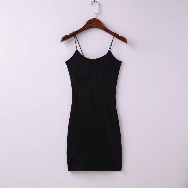 Sexy AA Style Brandy Melville Spaghetti Strap O-Neck Rubber Bodycon Slim Sheath Packege Hips Mini Dress Trendy Women 5 Colors