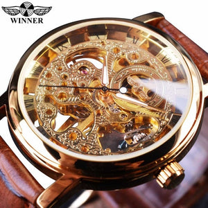 Winner Transparent Golden Case Luxury Casual Design Brown Leather Strap Mens Watches Top Brand Luxury Mechanical Skeleton Watch